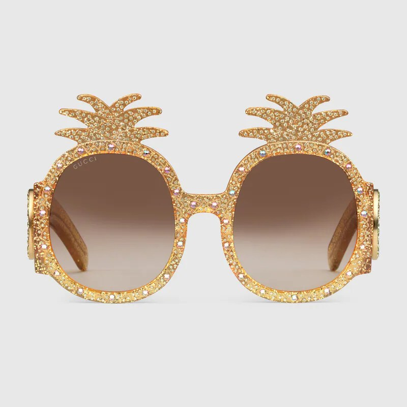 Acetate sunglasses in Gold acetate frame with pineapple design