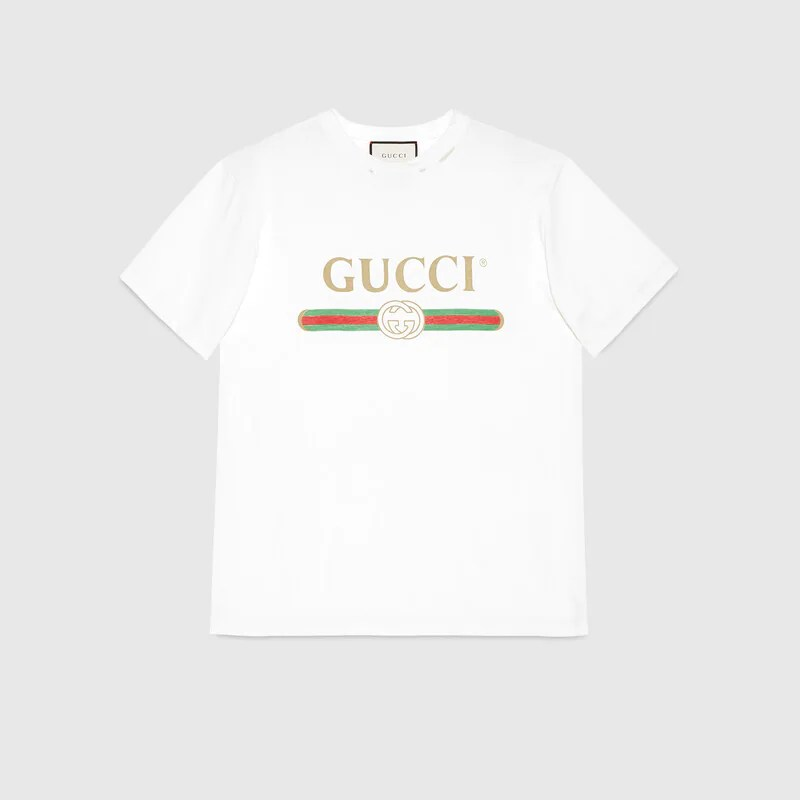Oversize T-shirt with Gucci logo in White cotton jersey Gucci