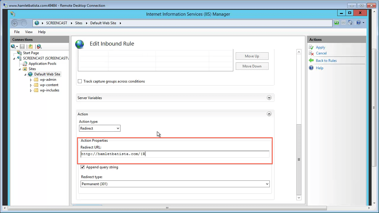 Redirect WWW to Non-WWW on IIS Step 25 - Enter Redirect URL