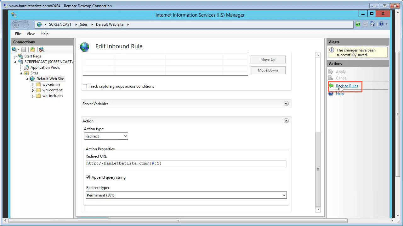 Redirect WWW to Non-WWW on IIS Step 27 - Back to Rules
