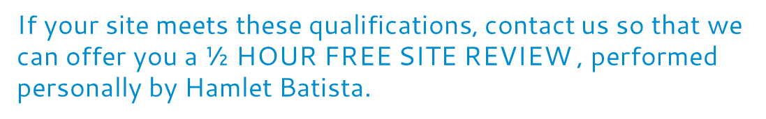If your site meets these qualifications, contact us so that we can offer you a 1/2 HOUR FREE SITE REVIEW, performed personally by Hamlet Batista.