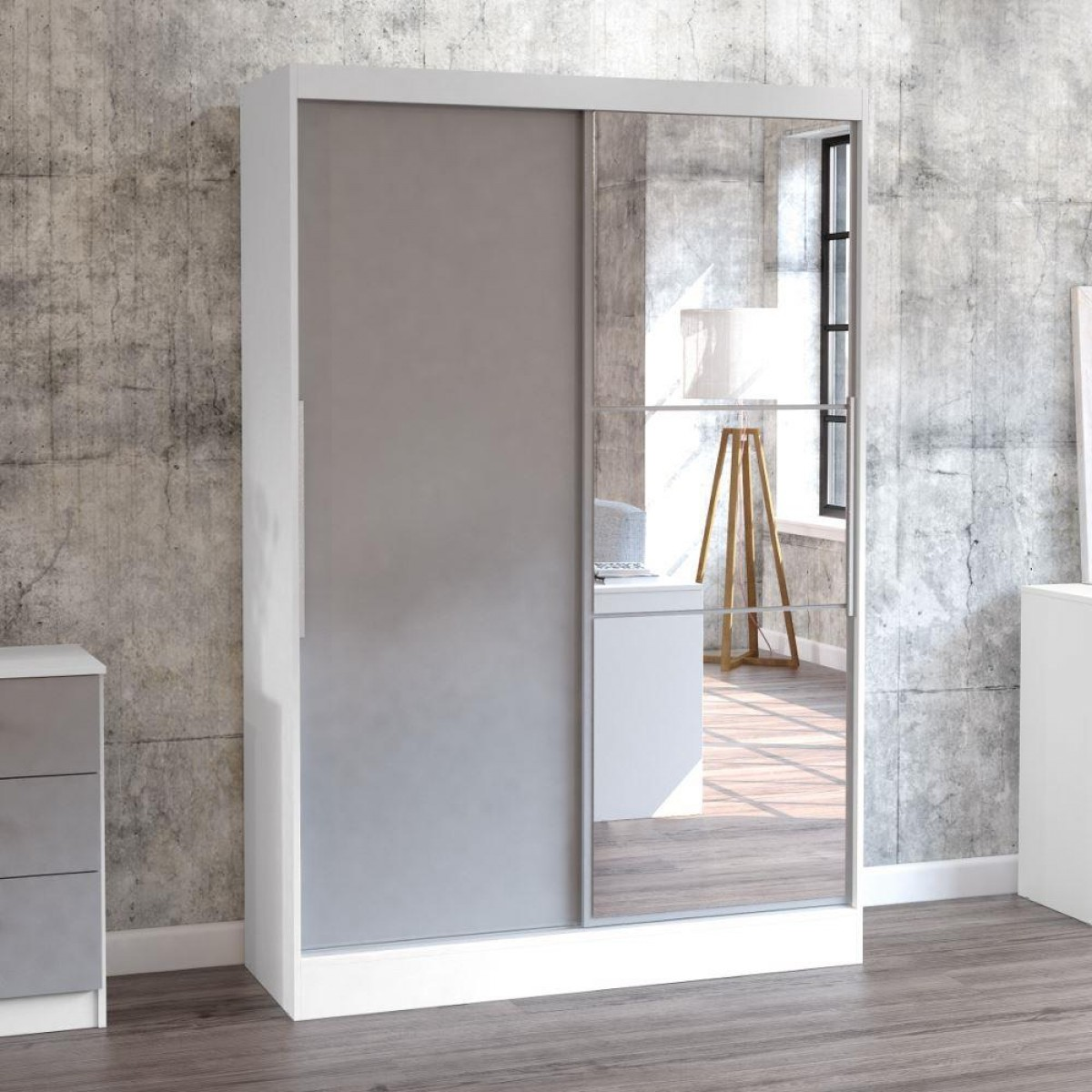 Grey And White Wardrobe Lynx White And Grey 2 Door Sliding Wardrobe With Mirror