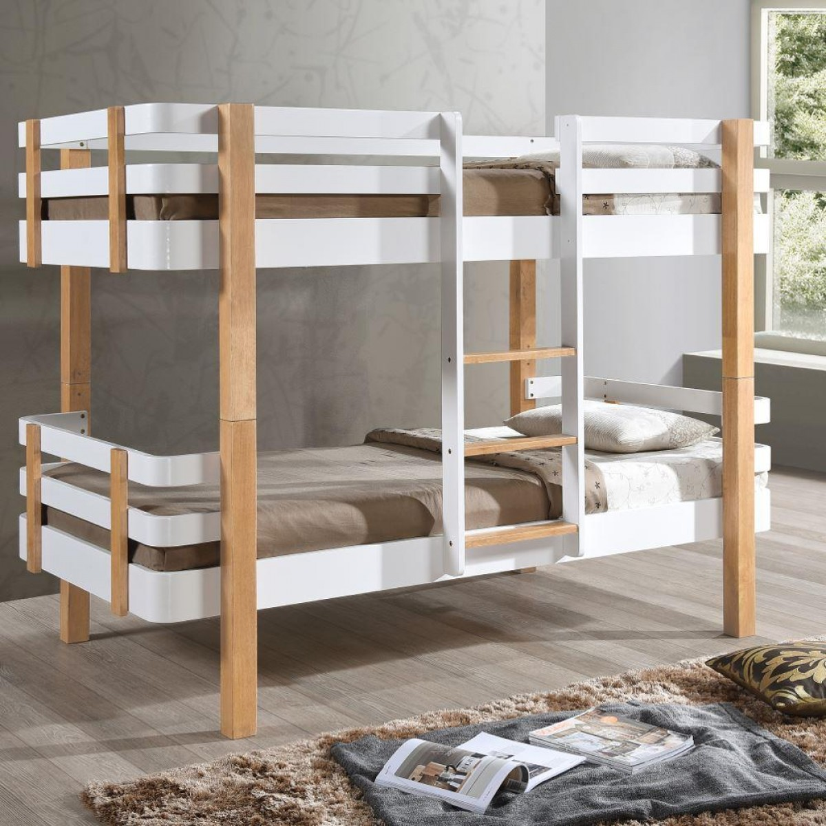 White Wooden Bunk Beds Hudson White And Oak Wooden Bunk Bed