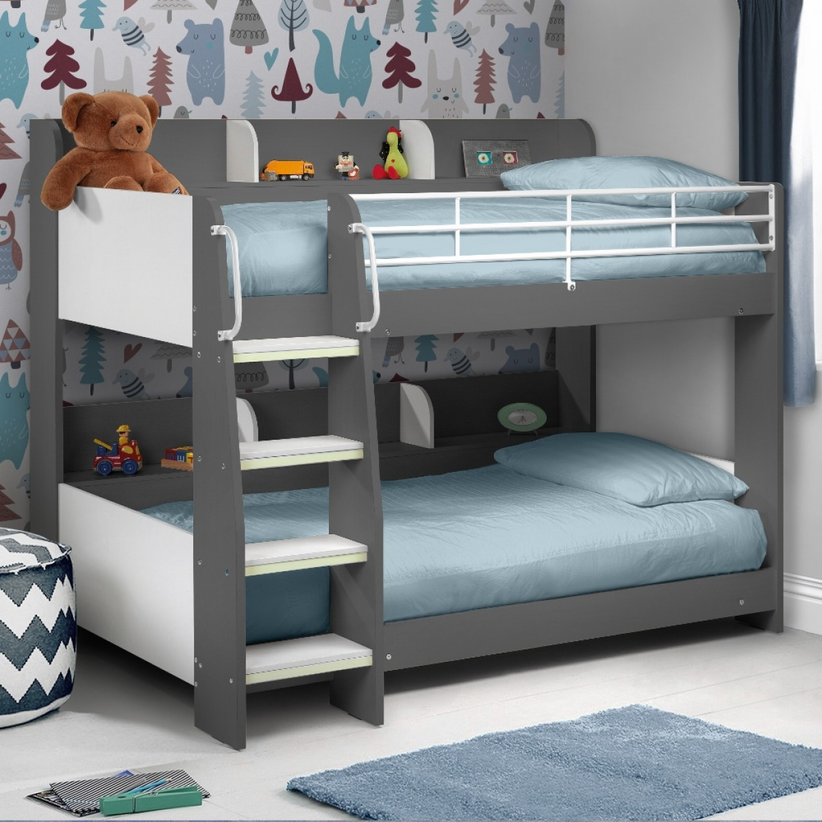 Single Beds For Kids Domino Grey Wooden And Metal Kids Storage Bunk Bed