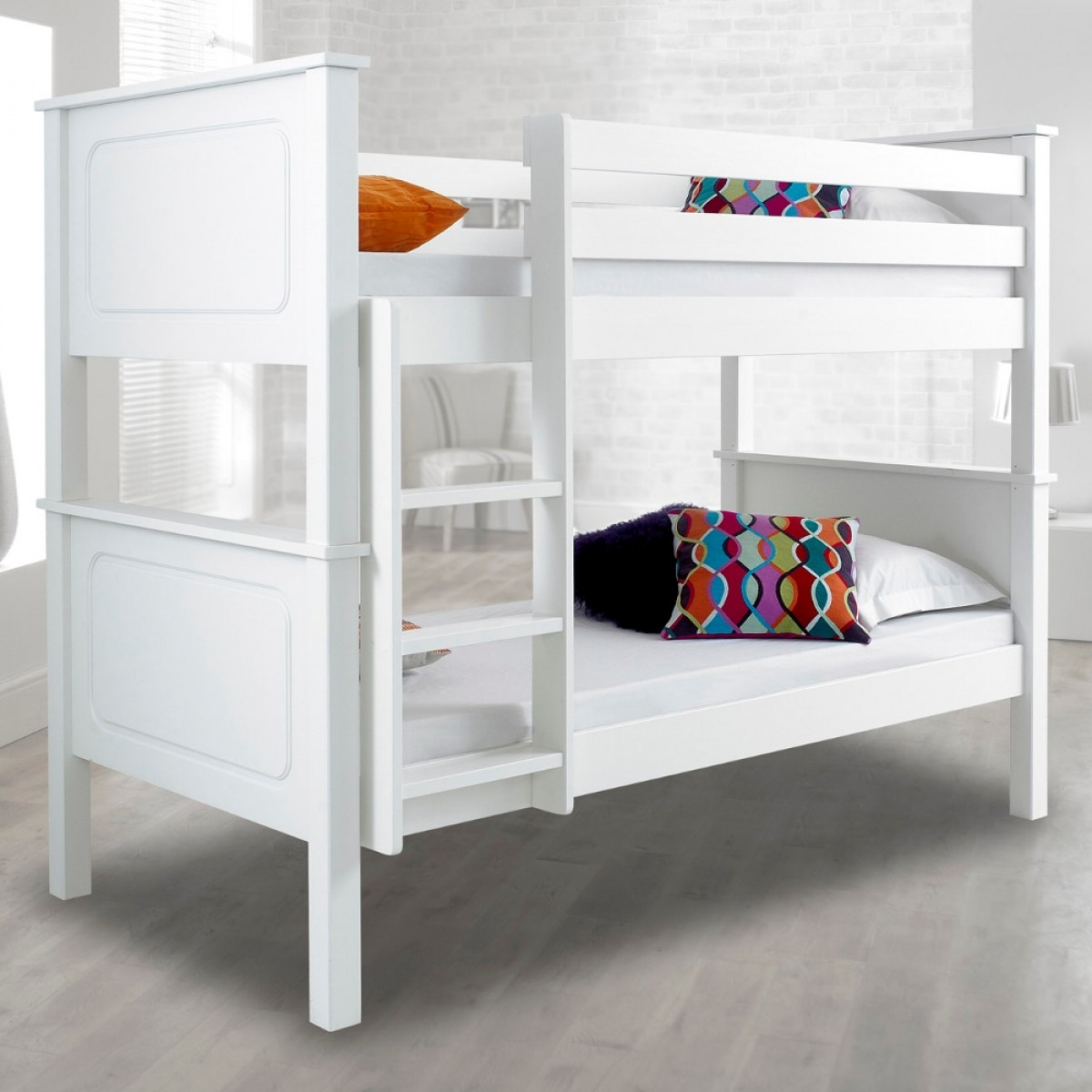 White Wooden Bunk Beds Vancouver White Finish Solid Pine Wooden Bunk Bed