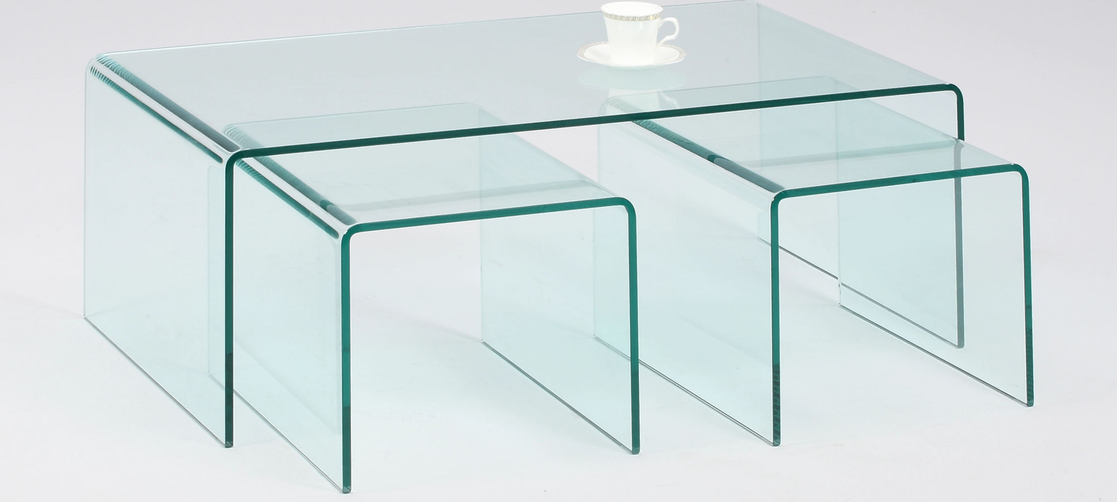Glass Nesting Tables Nested Bent Glass Table Set Hedgeapple