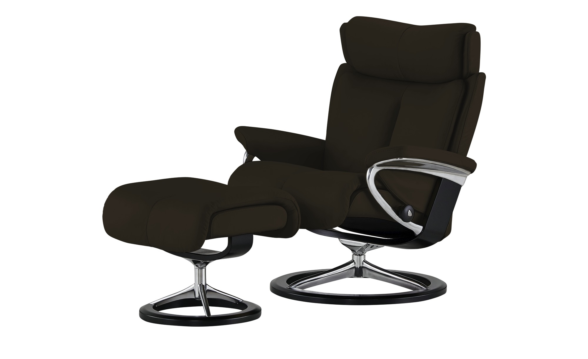 Stressless Relaxsessel Mit Hocker Magic M Braun Aluminium Schwarz