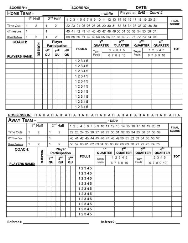 Basketball Stats Sheet Template – Basketball Score Sheet Template