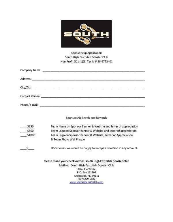 softball sponsorship form - Hunthankk