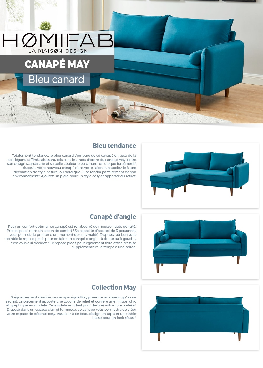 Canapé Darty Canapé D Angle Modulable 3 Places En Tissu Bleu Canard Collection May