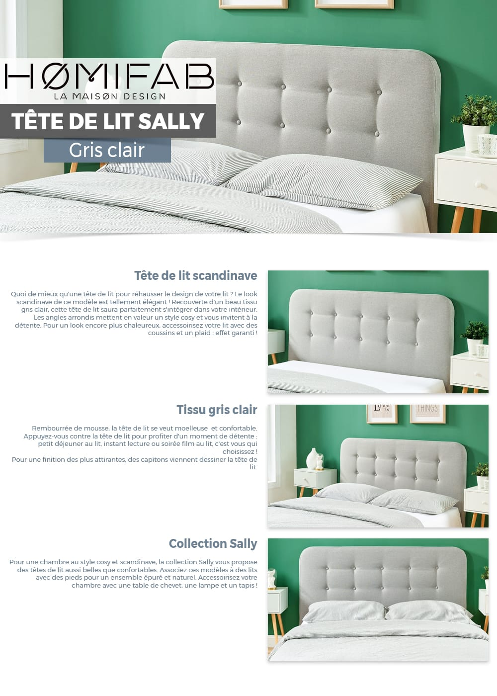 Tete Lit Tête De Lit Gris Clair 160cm Collection Sally