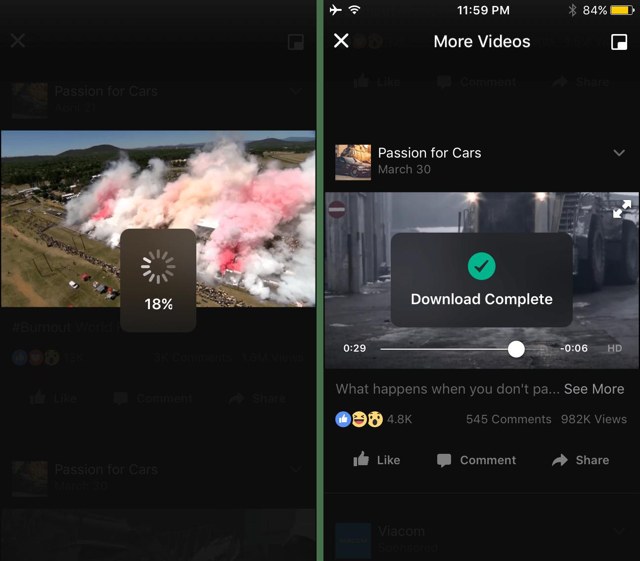 Prenesi 3 Facebook video download progress