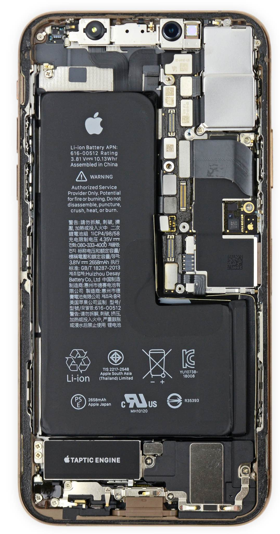 Ifixit Iphone X Internal Wallpaper Weirdly Shaped Iphone Xs Battery Maximizes Every