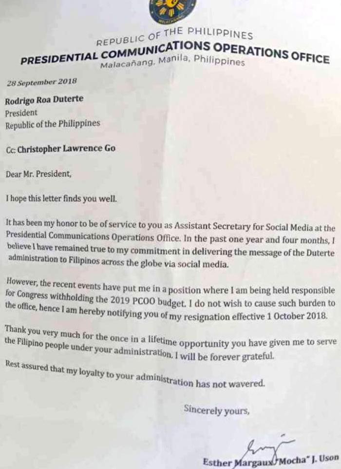 Full text of Mocha Uson\u0027s resignation letter - Interaksyon