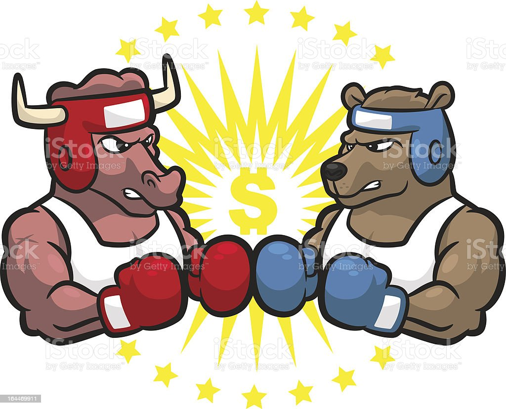 Bull And Bear Gifts Bull Vs Bear Stock Market Boxing Match Stock Vector Art