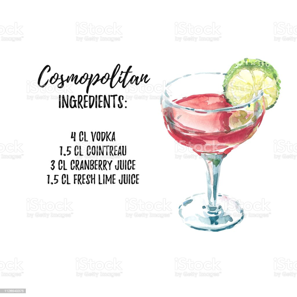 Cocktail Liste Illustration Daquarelle Cocktail Cosmopolite Avec Liste
