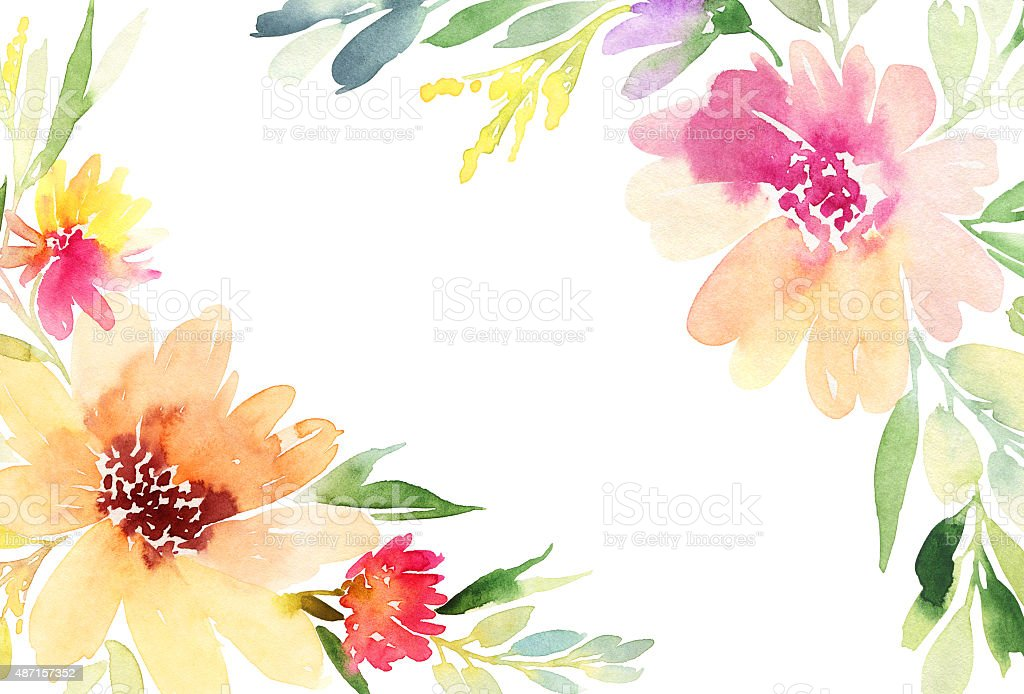 Orange Fall Peonies Wallpaper Greeting Card Watercolor Flowers Background Stock Vector