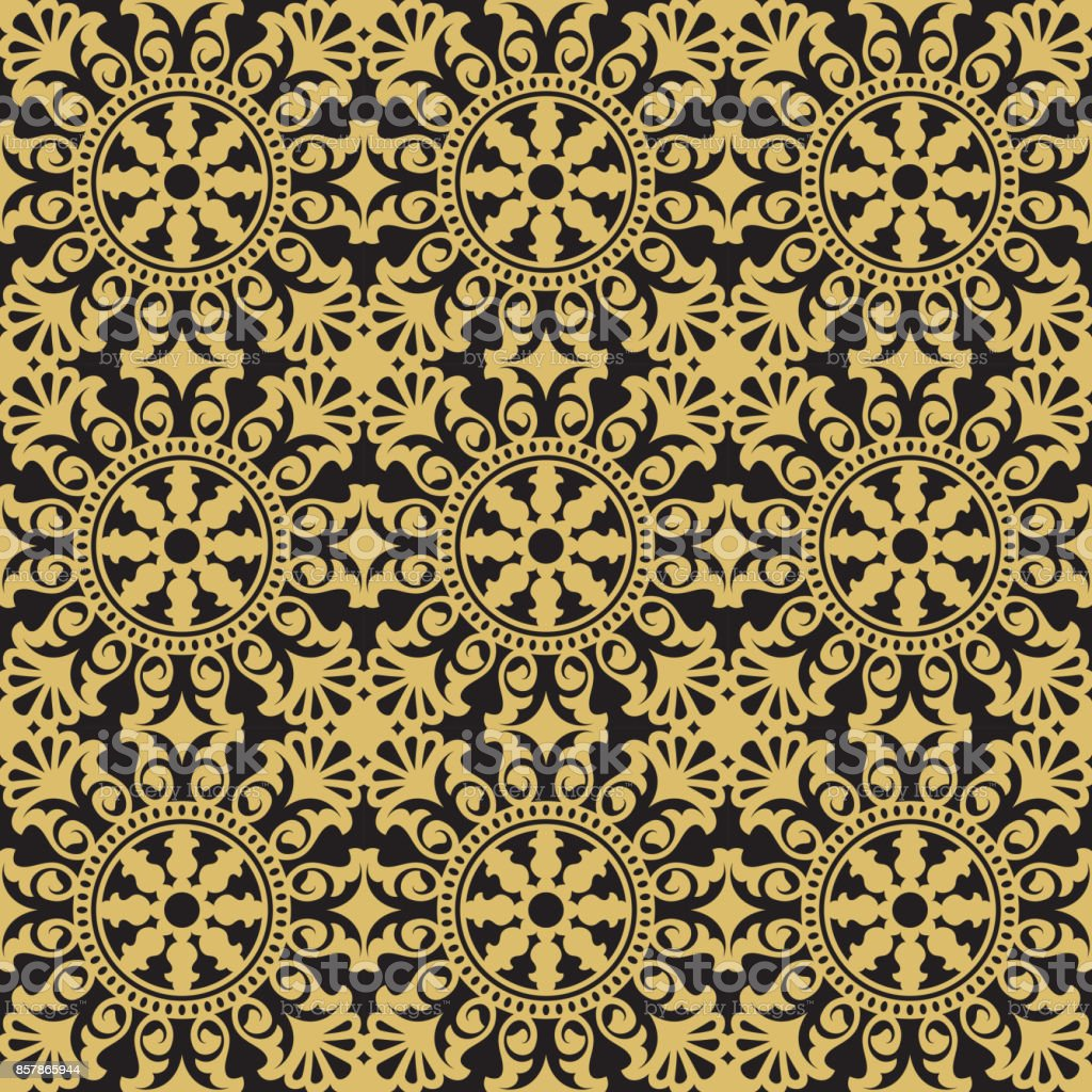 Carrelage Motif Seamless Golden Floral Pattern Inspired By Old Ornaments
