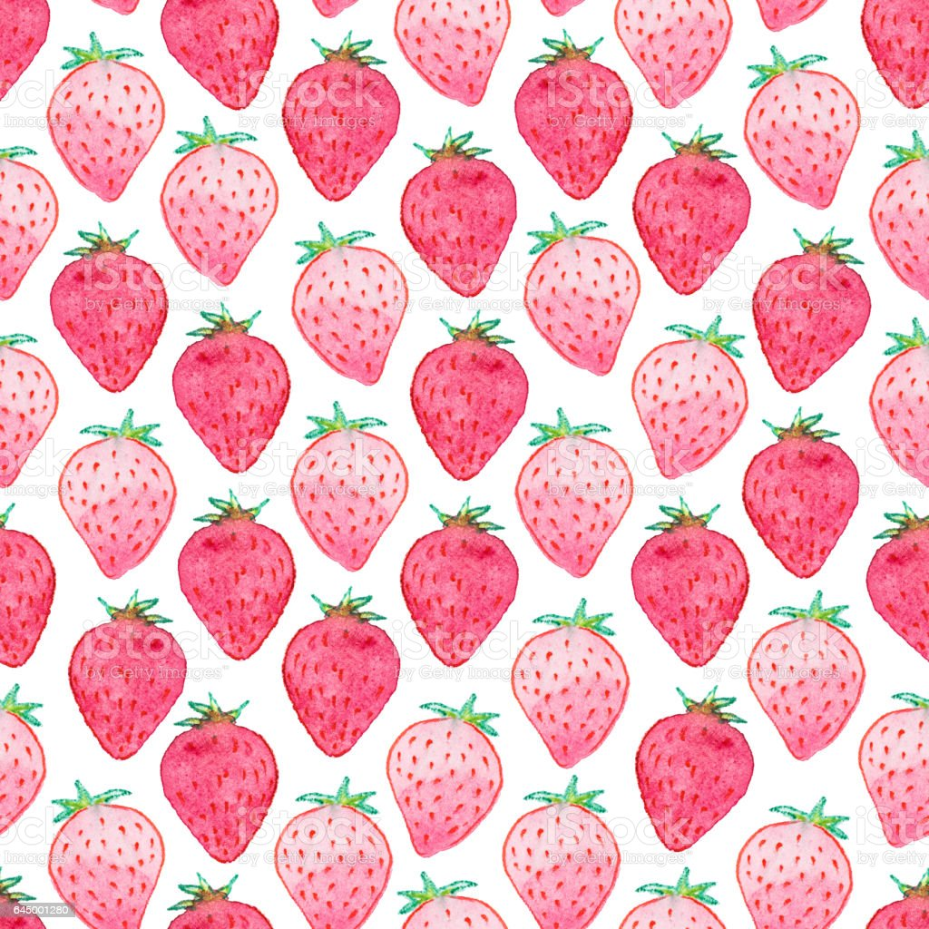 Watermelon Wallpaper Cute One Seamless Watercolor Strawberry Pattern On White Background