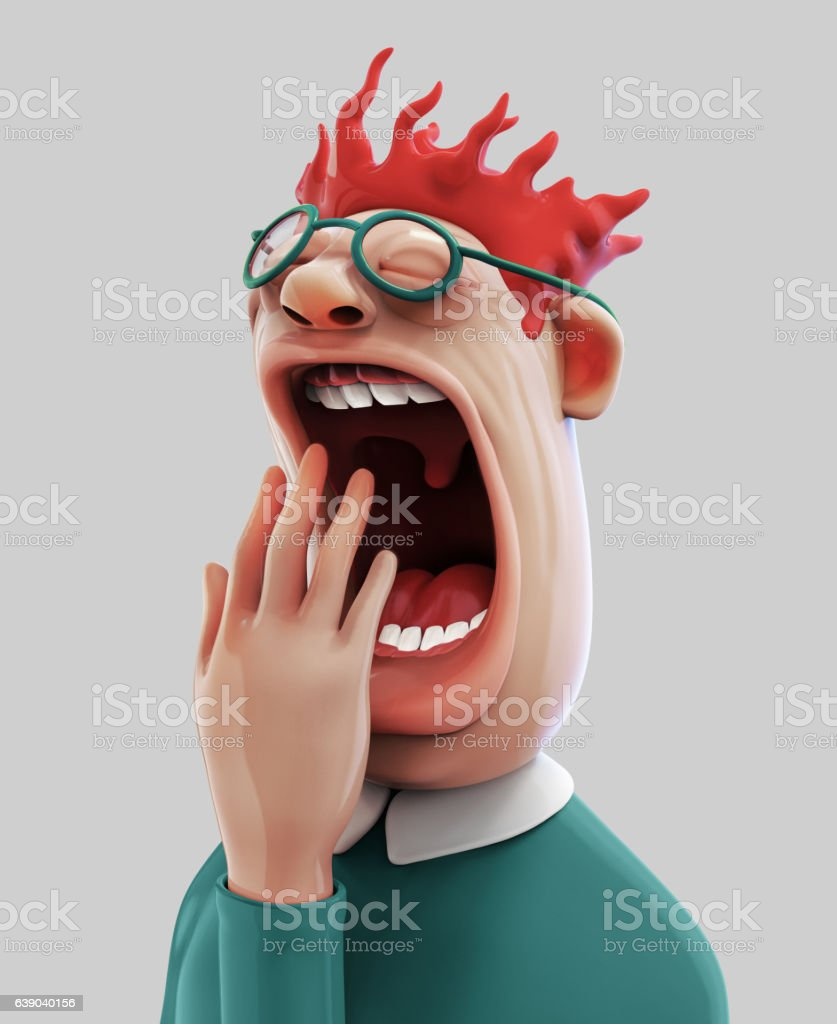 Tired Yawning Man 3d Illustration Stock Illustration Download Image Now Istock