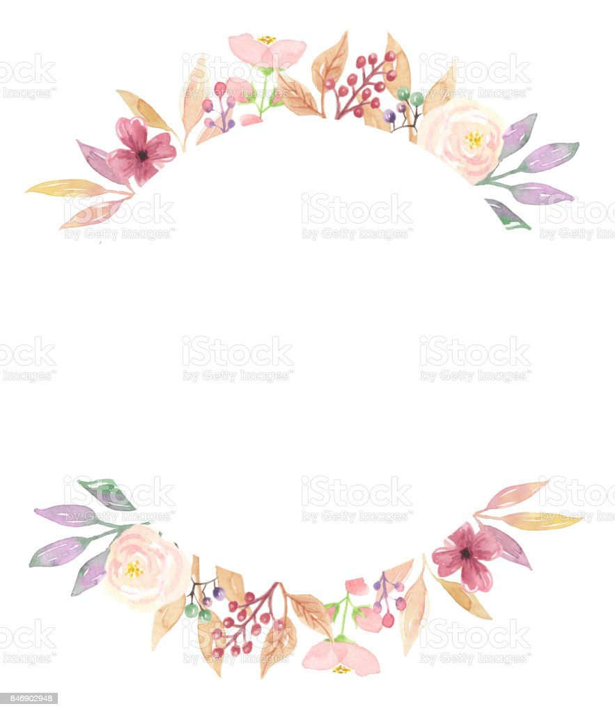 Blumenranke Ecke Clipart Vintage Pastel Frame Floral Watercolour Leaves Hand Painted Stock Vector Art & More Images Of