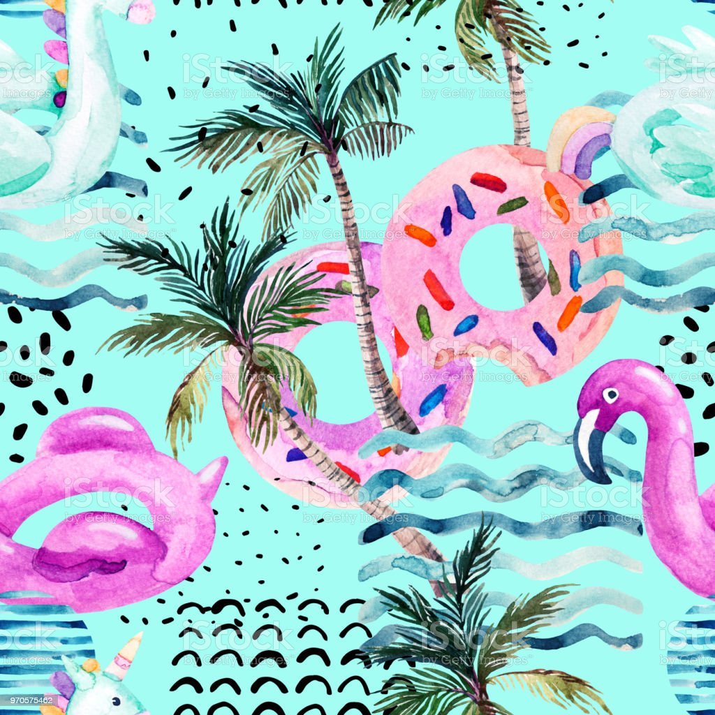 Flamingo Pool Dates Water Color Flamingo Pool Float Donut Lilo Floating On 80s