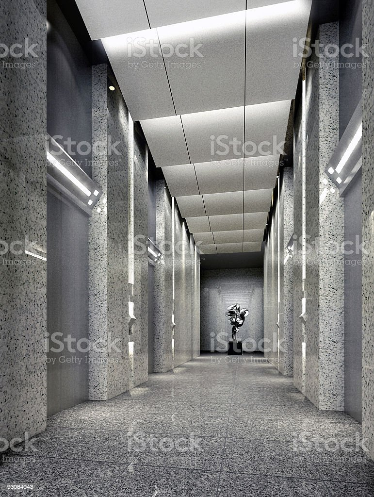Geile Bäder 3d Elevator Lobby Rendering Stock Photo Download Image Now