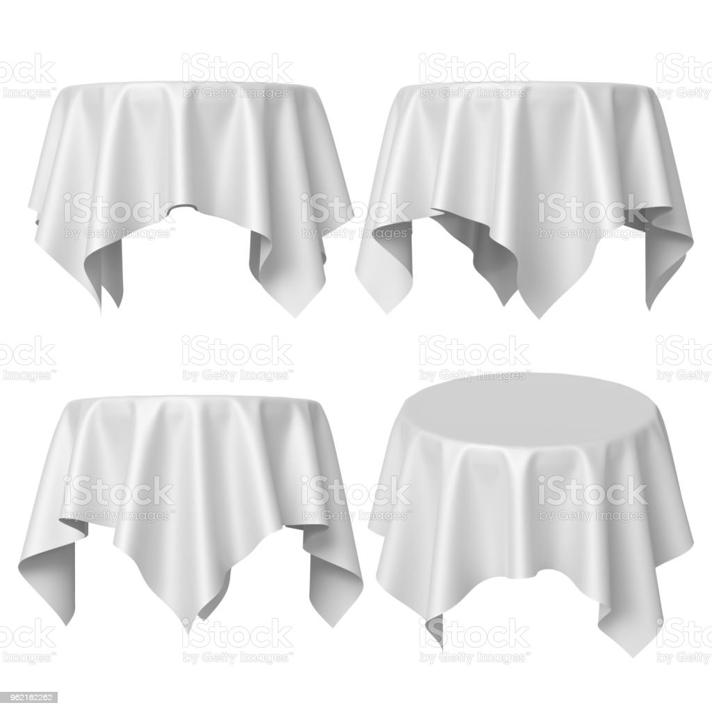 Nappe De Table Ronde Photo Libre De Droit De Rendu 3d Table Ronde Recouverte De Nappe