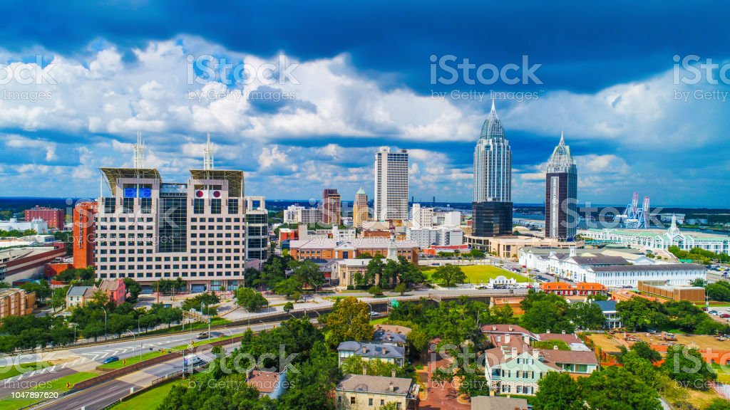 Mobil L Aerial View Of Downtown Mobile Alabama Usa Skyline Stock