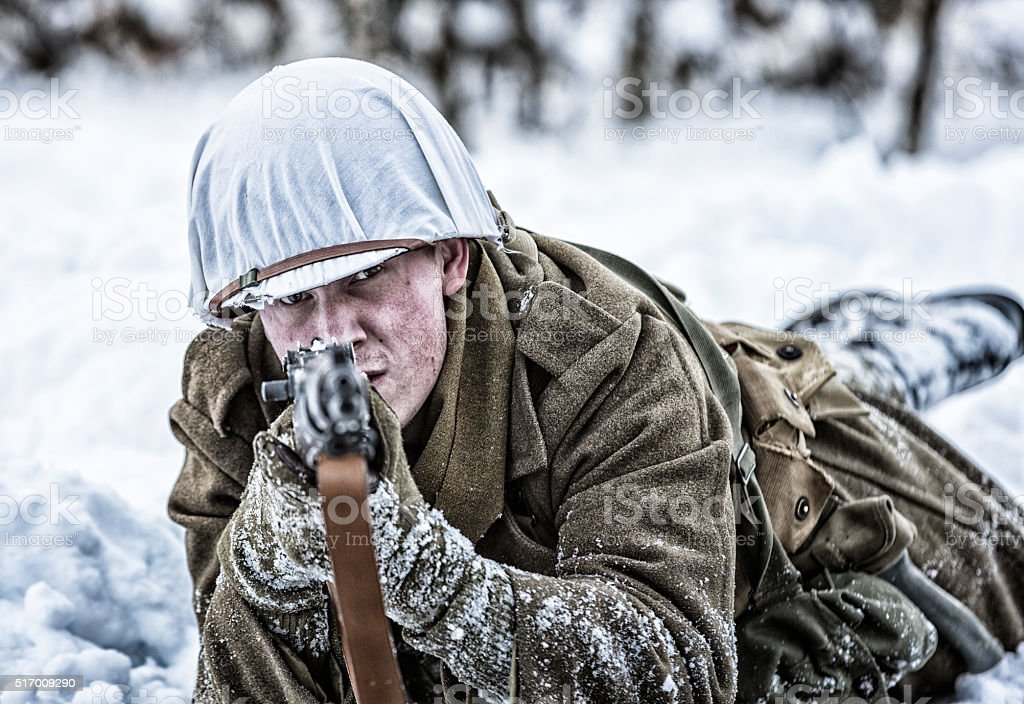 Sniper Rifle Wallpaper Hd Wwii Us Army Sniper Soldier Aiming M1 Rifle In Winter