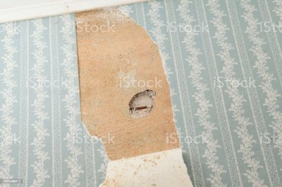 Asbestos Inspection Hole In An Older House Wall With Torn Wallpaper Stock Photo & More Pictures ...