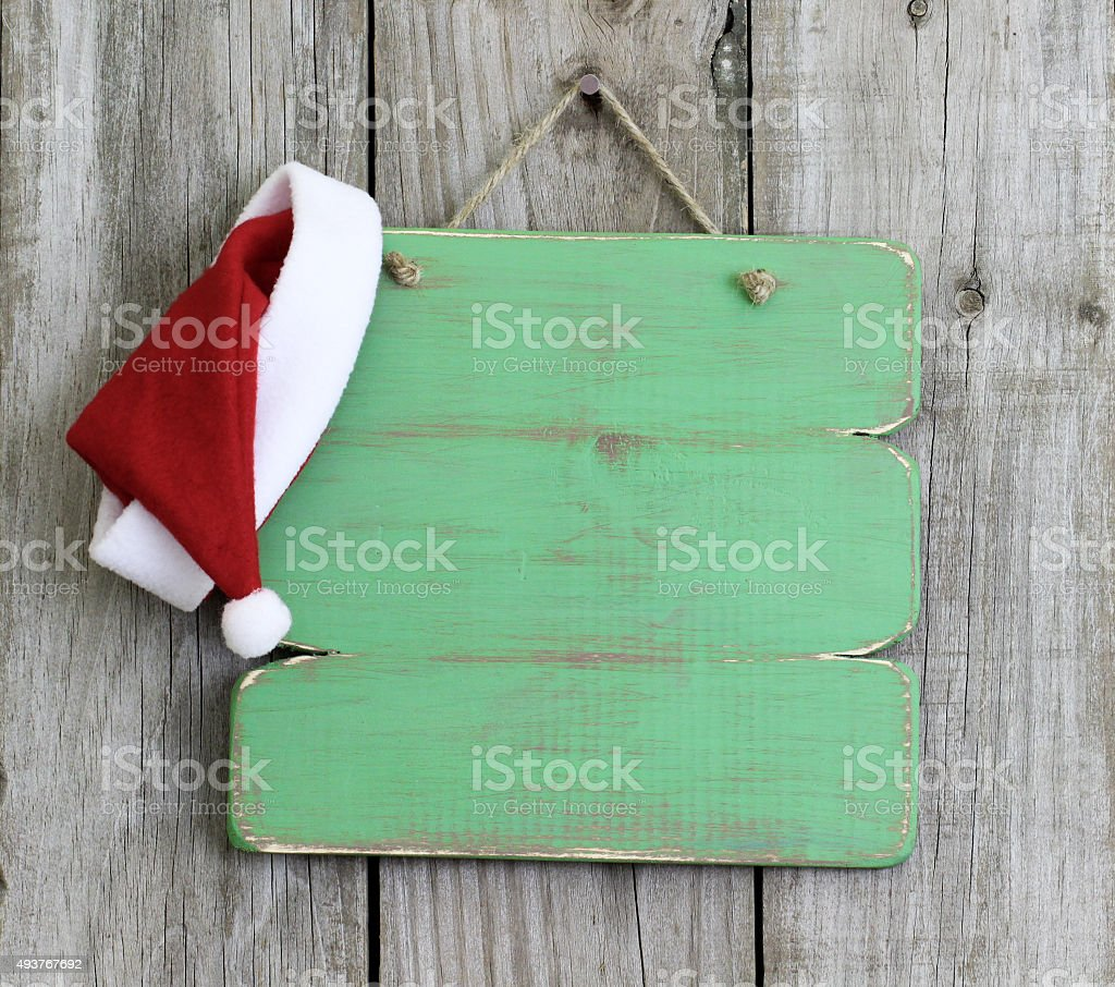 Blank Sign With Santa Claus Hat Stock Photo Download Image Now Istock