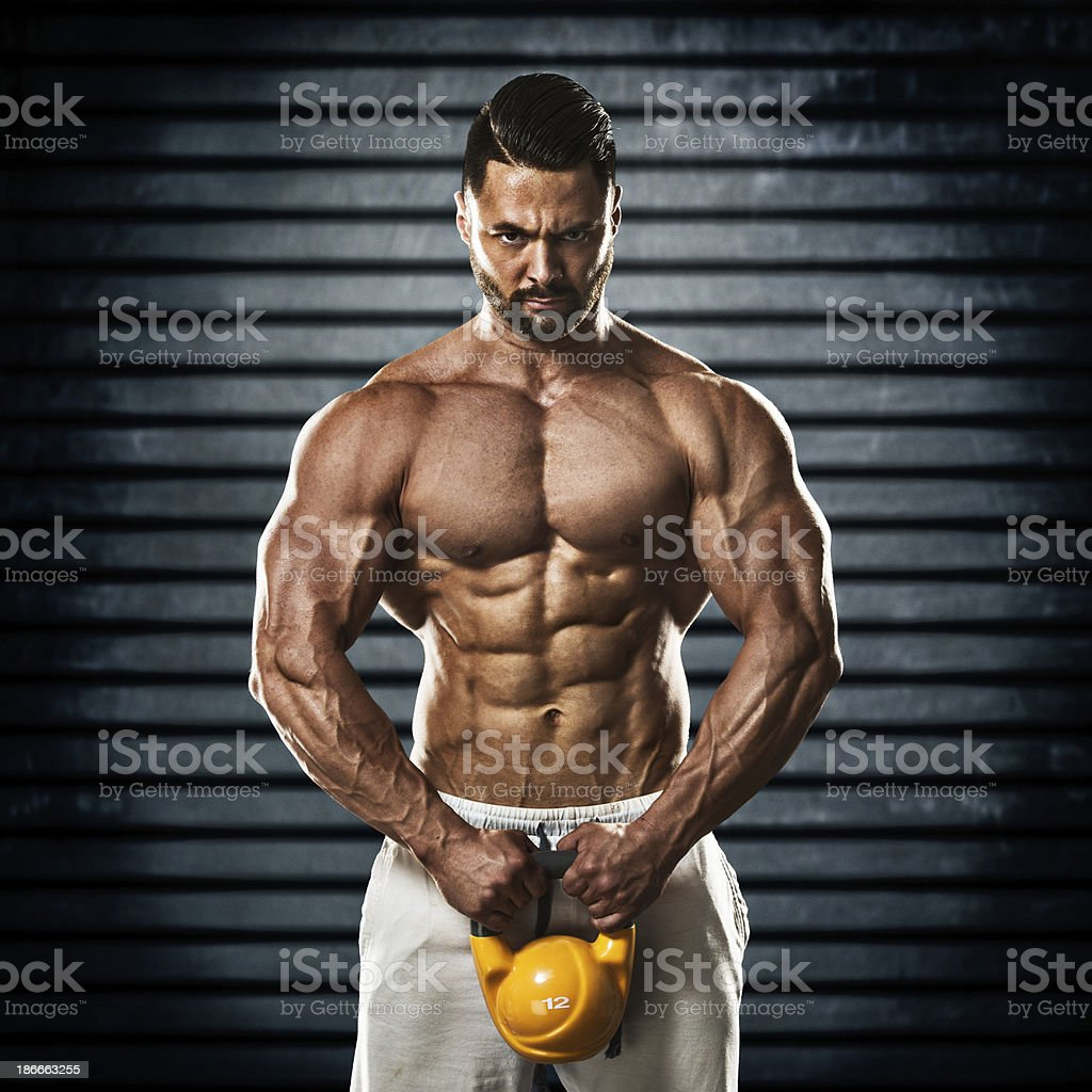 Kettlebell Bodybuilding Bodybuilder With Kettlebell Stock Photo More Pictures Of Athlete