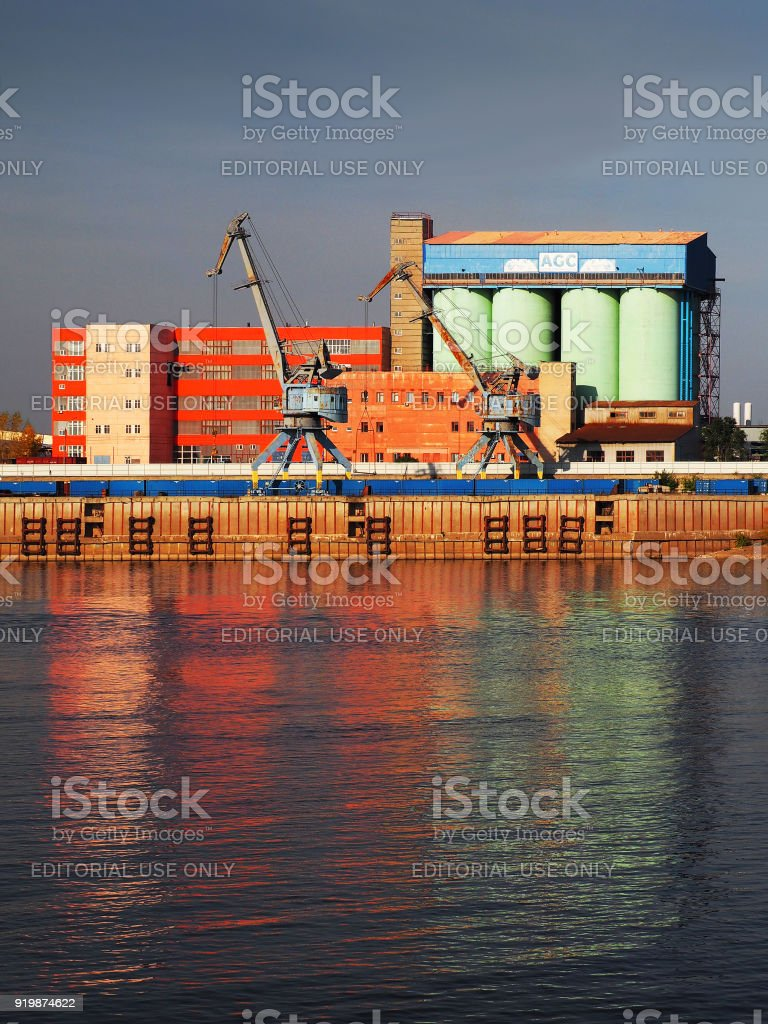 Glass Factory Manufacturer Bor Glassworks On The Banks Of The Volga River At Sunset Agc