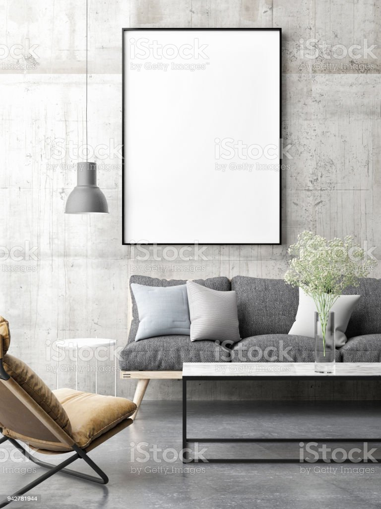 Divano Design Minimal Canvas Mock Up Minimal Scandinavian Design Living Room Fotografie Stock E Altre Immagini Di Ambientazione Interna