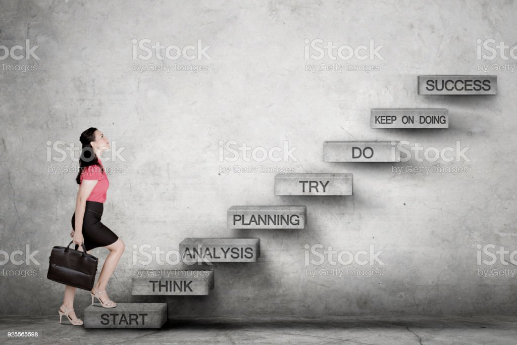 Royalty Free Business Woman Climbing Ladder Pictures