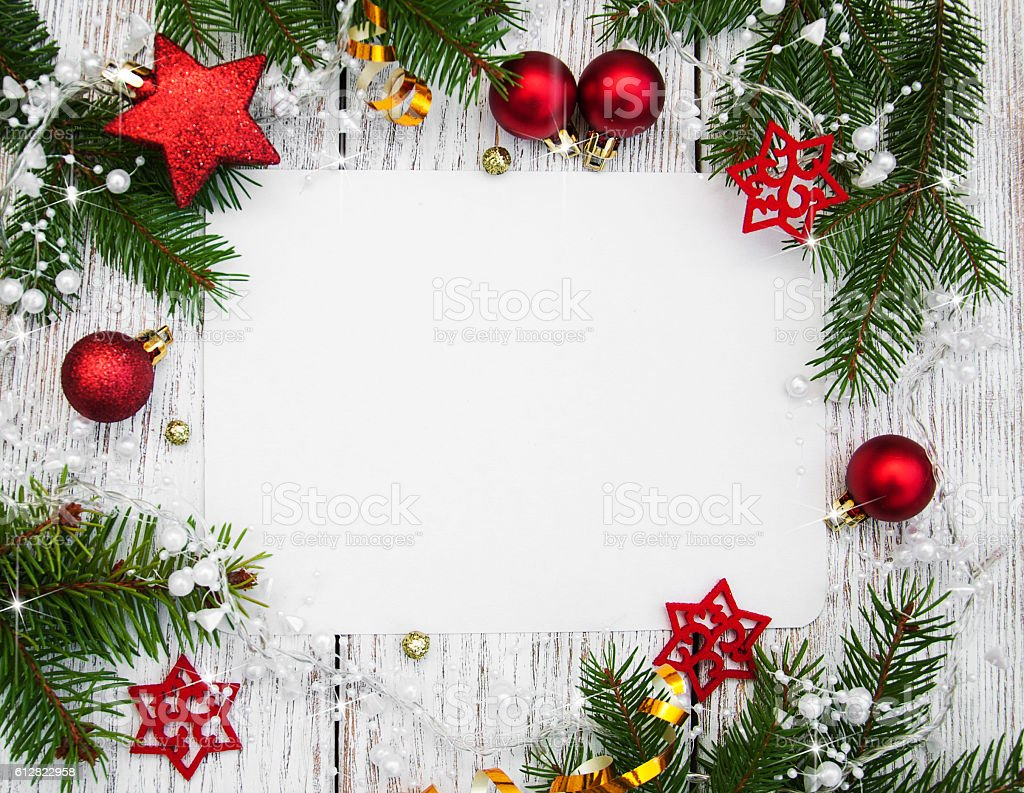 Foto Decoration Christmas Background Blank Paper With Decoration