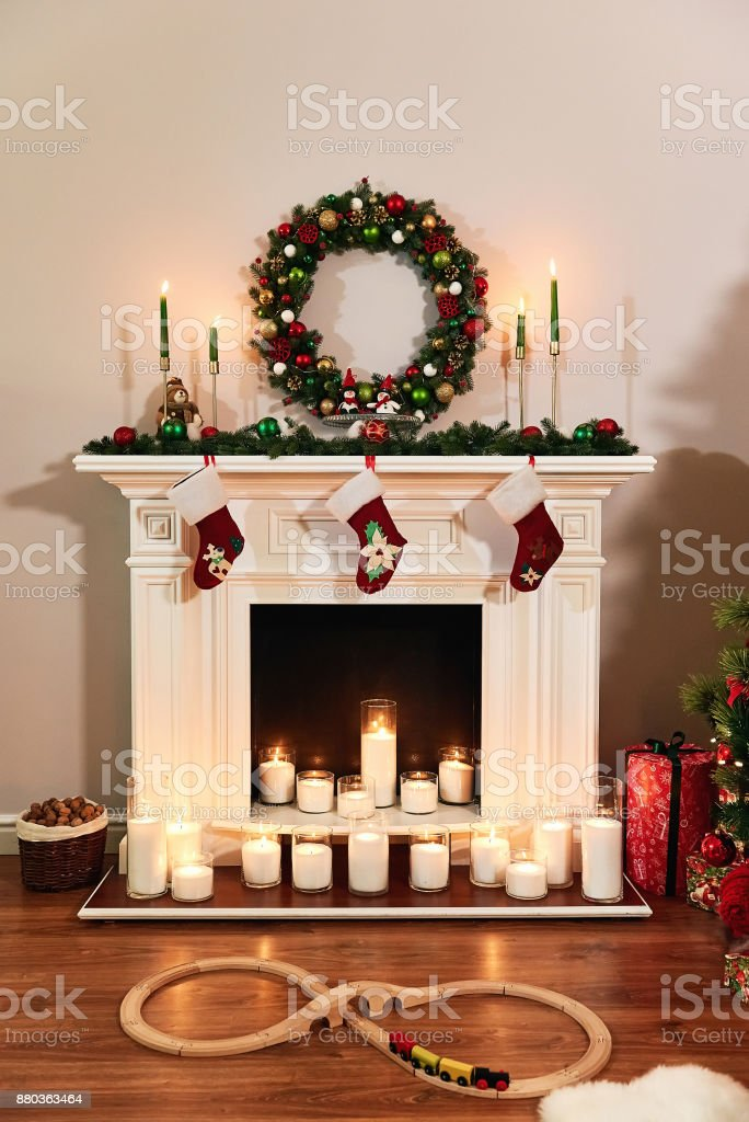 Stock Photo Free For Commercial Use Christmas Fireplace With Santa Socks Christmas Stocking