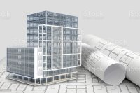 Construction Architecture Blueprint With Office Building ...