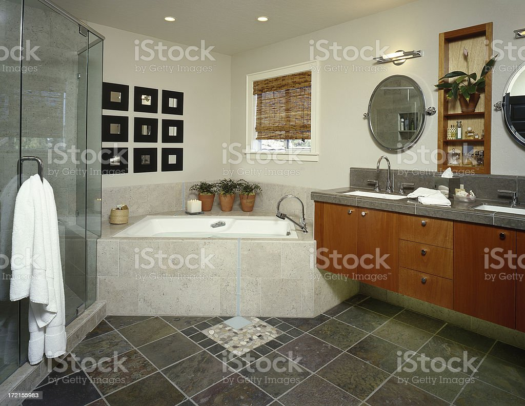 Contemporary Bathroom With Slate Floor Stock Photo Download Image Now Istock