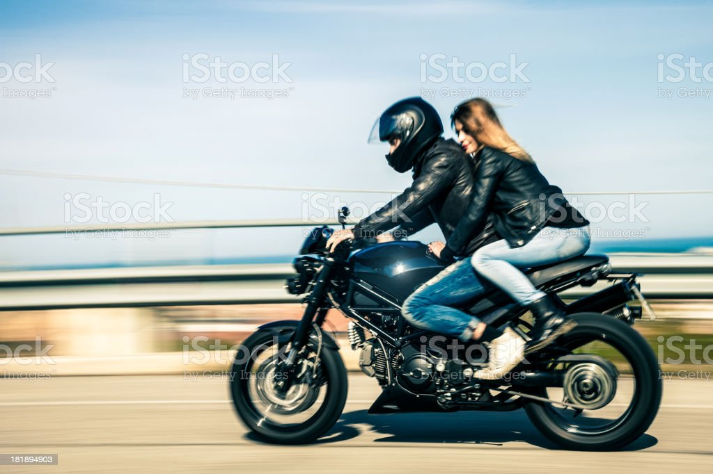 Cafe Racer Girl Wallpaper Couple Travelling On A Fast Motorcycle Stock Photo Amp More