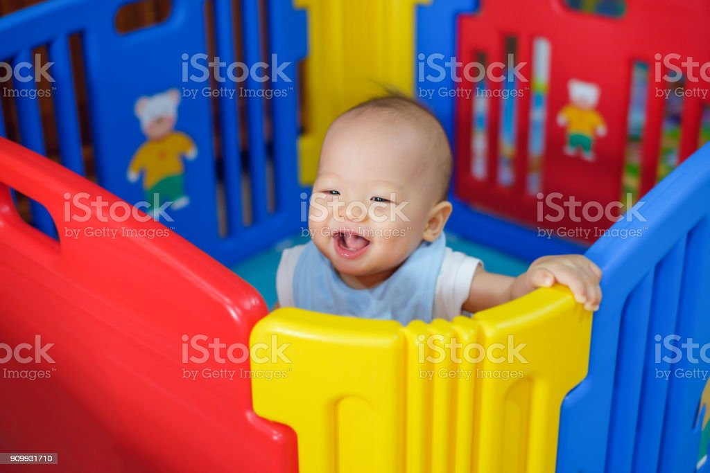 Playpen One Month Old Baby Cute Asian 9 Months Old Baby Boy Playing In Colorful