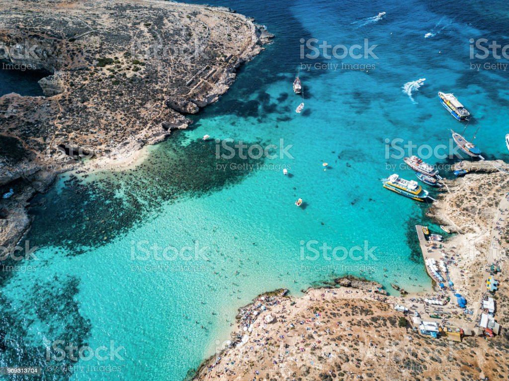 Drone Photo The Famous Blue Lagoon Camino Island Malta Stock Photo More Pictures Of Adventure - Camino Island Used