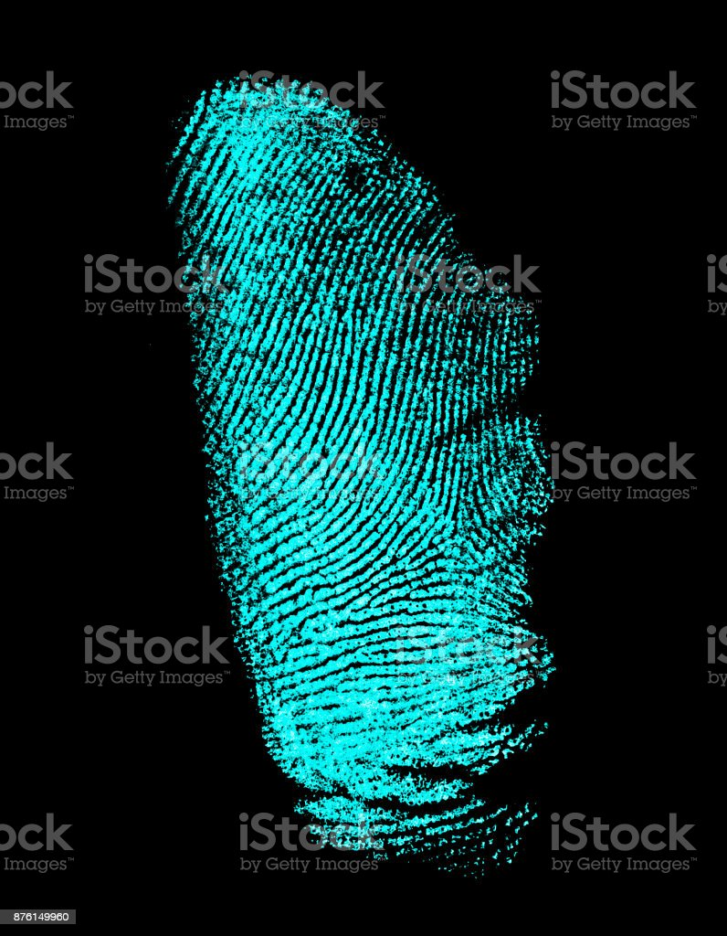 Ultraviolet Lamp Fingerprint On Black Background Fingerprint With Ultraviolet Lamp