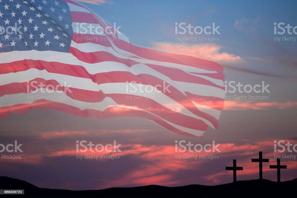 Stock Photo Free For Commercial Use Usa Flag With Sunset Sky And Good Friday Easter Crosses