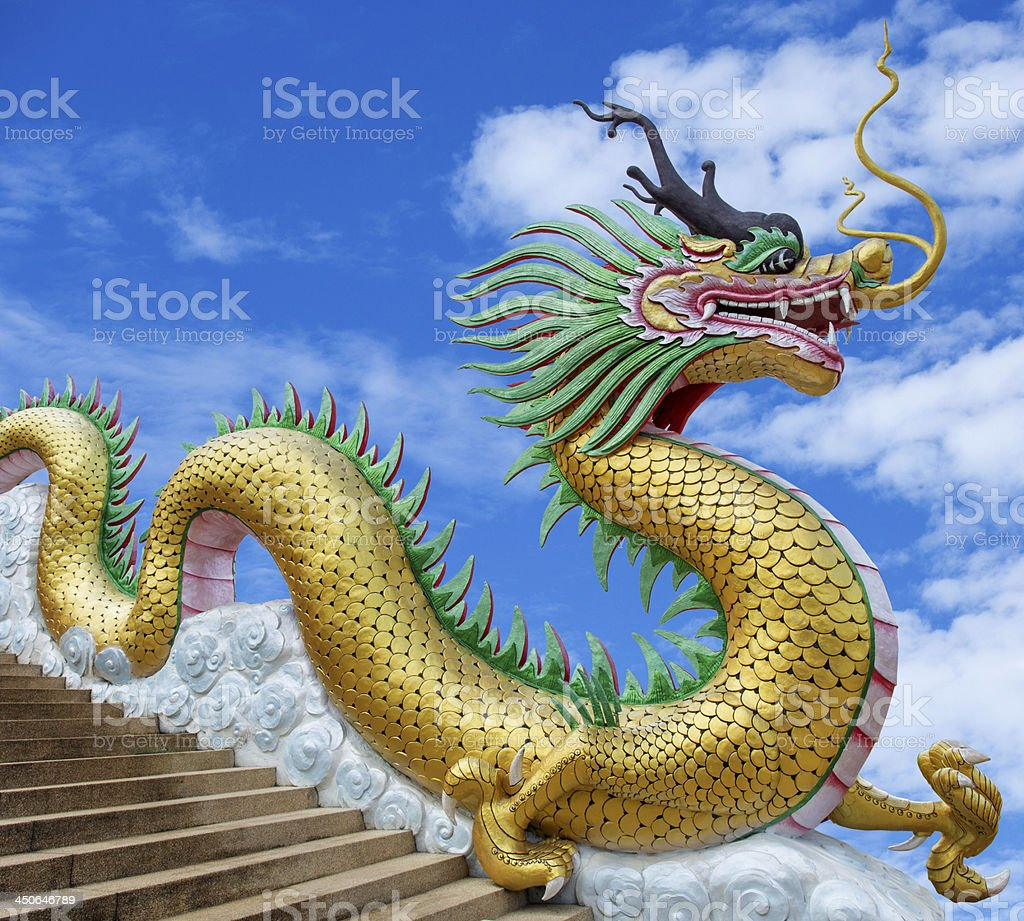 Giant Dragon Statue Giant Chinese Style Dragon Statue On Blue Sky Background Stock
