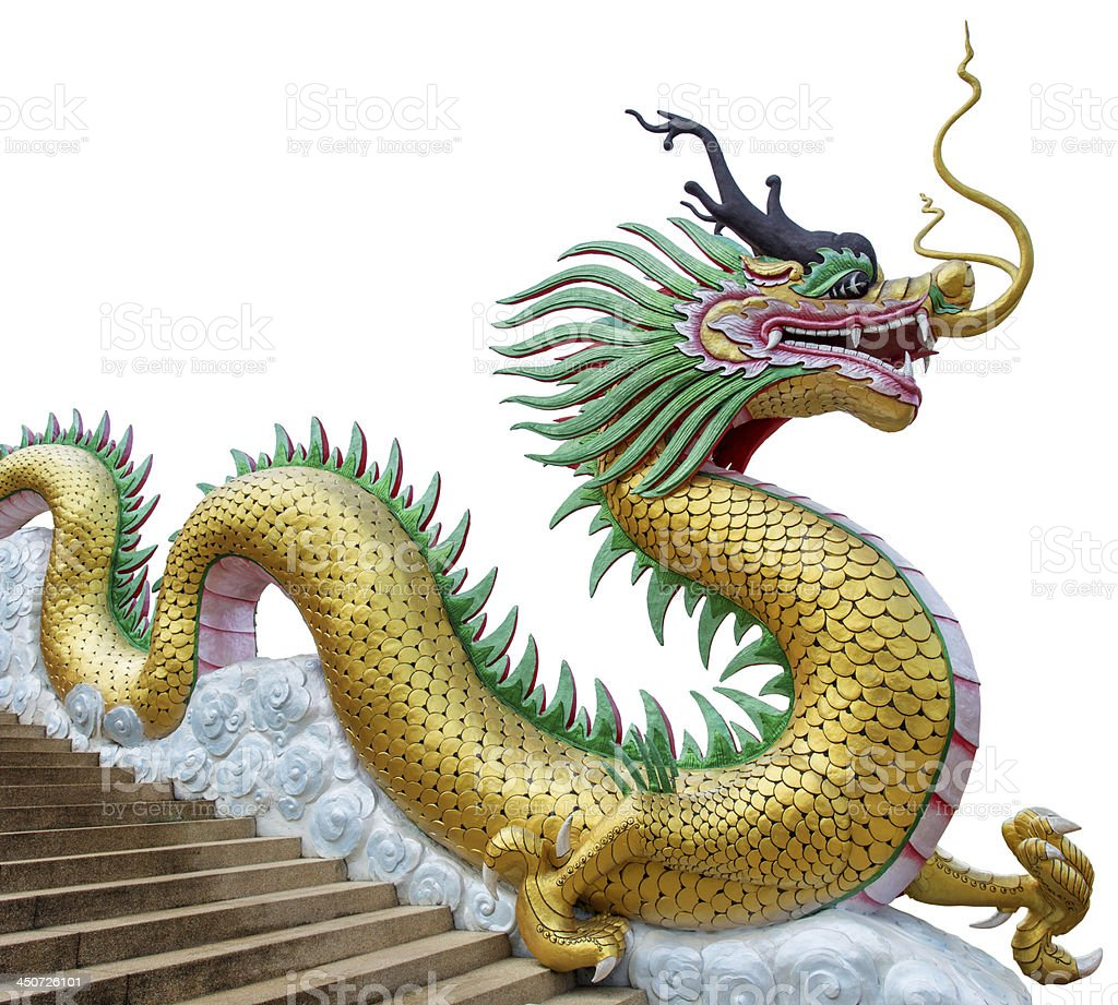 Giant Dragon Statue Giant Chinese Style Dragon Statue On White Background Stock Photo