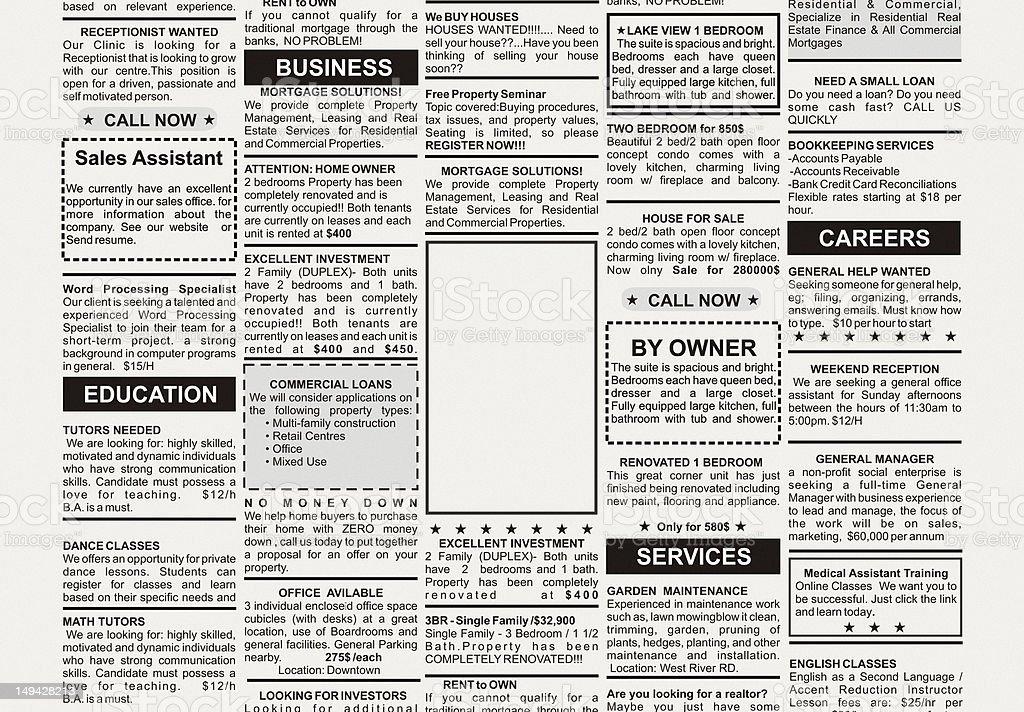 newspaper classified ad template