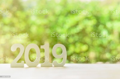 2019 Happy New Year Green Nature Theme Concept Number 2019 ...