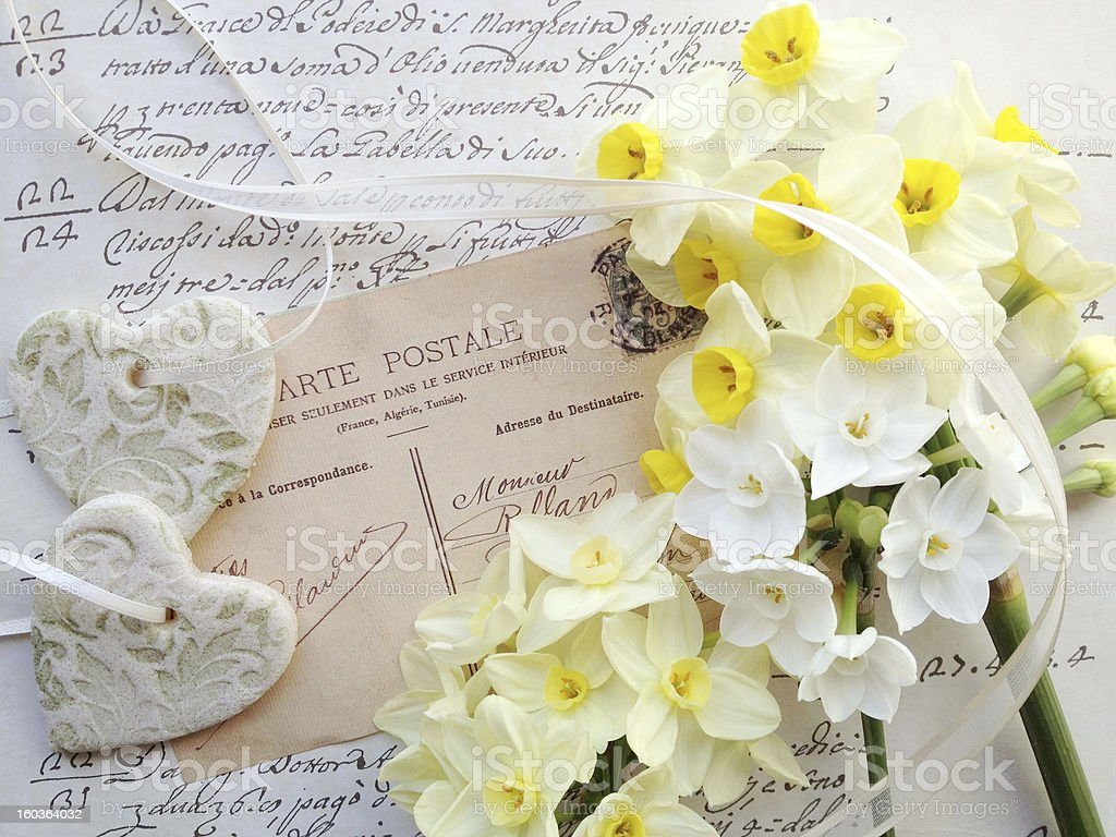 Arte France Adresse Hearts Spring Flowers On Old Postcard Stock Photo More Pictures